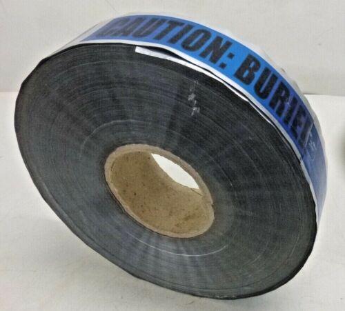 "Detectable Underground Tape, Blue/Black, 2"" x 1000 ft., Caution Buried Waterline"