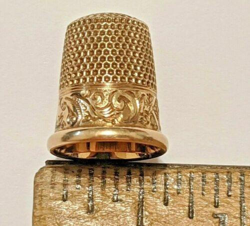 SIZE 5 14K YELLOW GOLD THIMBLE MKD KETCHAM & MCDOUGALL MONO SIGNED HALLMARKED