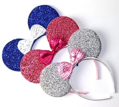 Minnie Mouse Ears Adult (3 Minnie Mouse Silver,blue, pink-Bow-Mickey Mouse Ears Headband Disney)