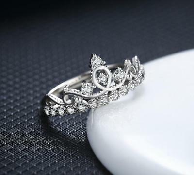 925 Sterling Silver *Crown* Micro-inlay CZ Engagement Wedding Adjustable Ring