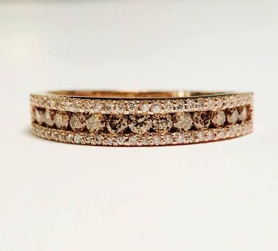 1.5Ct Chocolate & White Diamond Wedding Anniversary Band Ring 18K Rose Gold Over