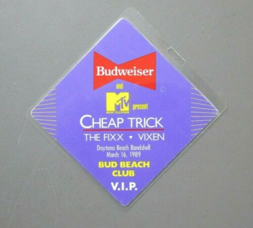Cheap Trick The Fixx Vixen backstage pass laminated March 6, 1989 AUTHENTIC !