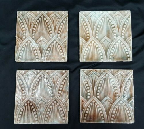 "Set of 15 Architectural Salvaged 6"" x 6"" Art Deco Ceramic Fireplace Tiles"