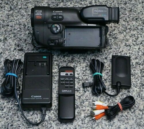 Canon ES2000 Hi-8 8mm Camcorder For Video Transfer 20x W/ Extras Tested FR/SH