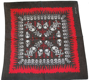 Bandana-Bandanna-Flame-Skull-Cross-Bone-Black-6-Styles
