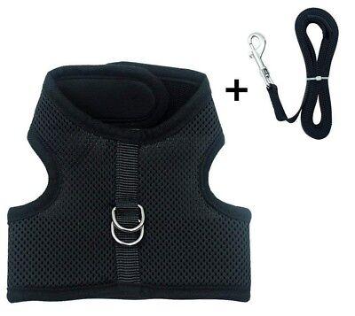Escape Proof Soft Mesh Small Dog Harness Cat Pet Padded Vest No Pull Black Leash