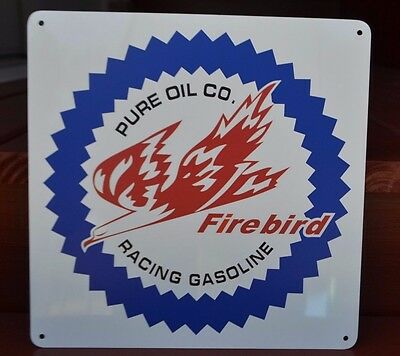PURE Oil Firerbird Racing Gasoline Gas Station Pump SIGN Ohio Advertising logo