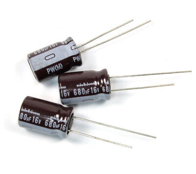 10pcs Nichicon Pw 680uf 16v 105c Radial Electrolytic Capacitor Low Esr