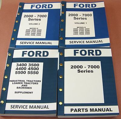 Ford 3400 3500 4400 4500 Industrial Tractor Service Repair Shop Parts Manuals