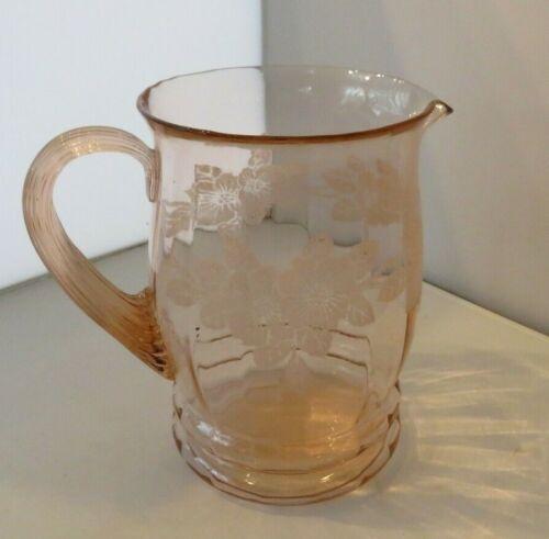 Lovely MacBeth Evans Dogwood Pink Water Pitcher 80 Oz. Fabulous Vintage Glass