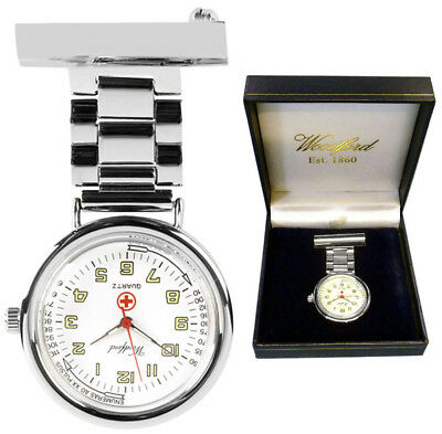 Woodford Nurses Fob Watch Chrome Plated with Free Engraving (1219), used for sale  Bedford