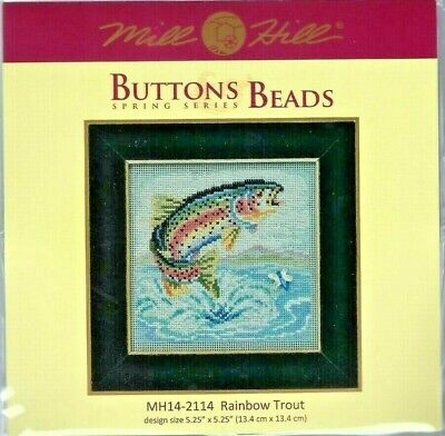 Rainbow Trout Fish Buttons & Beads Spring Series Mill Hill Cross Stitch