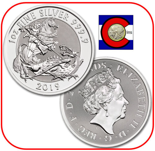 2019 UK Valiant St. George £2 Silver Coin in Capsule - Mini Roll of 10 Coins.