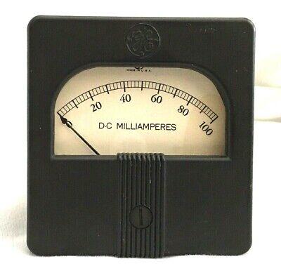 Vintage Ge Vu Audio Dc Meter 3 X 3.25 Tube Amp Bakelite Tested - Made Usa