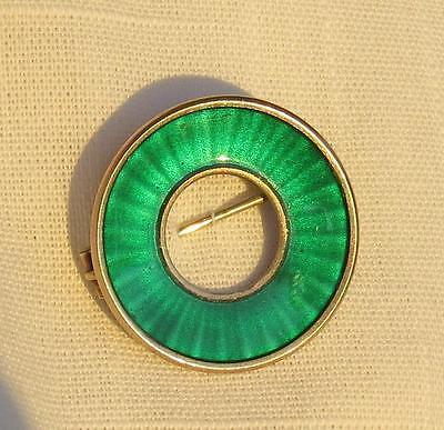 EINAR MODAHL NORWAY STERLING SILVER AND GREEN ENAMEL CIRCLE PIN
