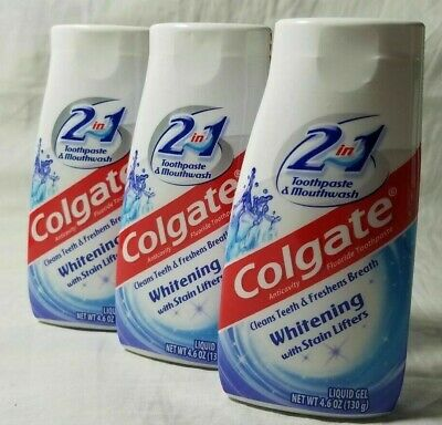 (3) Colgate Liquid Gel 2-in-1 Whitening with Stain Lifters 4.6oz-Free -