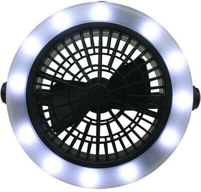 # Ventilator mit LED Licht 2in1 Lüfter Gebläse Tischventilator Outdoor Strahler ()