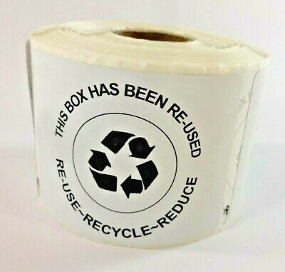 400 Qty This Box Has Been Re-used Recycle Reduce Shipping Label Stickers No Ink