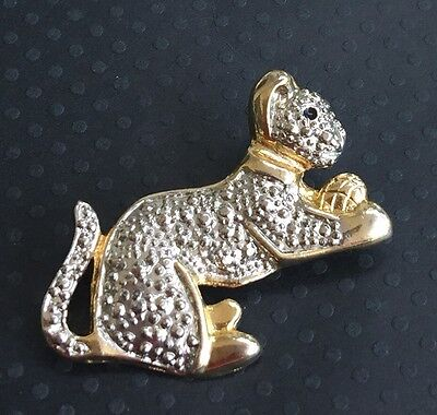 Adorable Vintage Cat Brooch In Silver & Gold Tone Metal