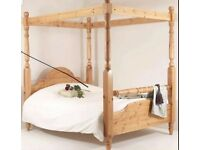 4 four poster double wooden bed
