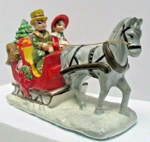 Vintage Holiday Decor Ceramic One Horse Sleigh Gifts Christmas Tree Made Japan