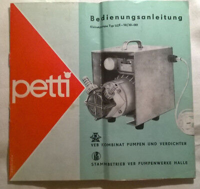 DDR-Bedienungsanleitung Petti Pumpe Typ UZE-58/30-001 - Original!