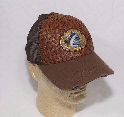 Panama Jack Logo Baseball Cap Hat Woven Brown Straw Plus Mesh Sides & Back