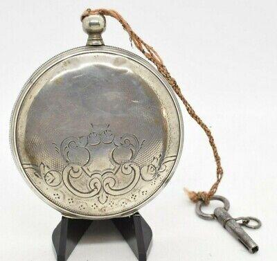 Antique Key Wind Pocketwatch Swiss Bar Mov Runs