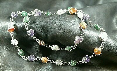 "A Natural Healing Stone 24"" Uniquely  Detailed Silver Necklace -FreeShip"