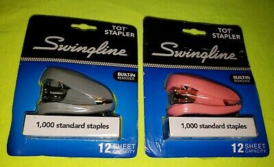 Swingline 79141 Tot Mini Stapler 12-sheet Capacity Pink Grey Free Shipping