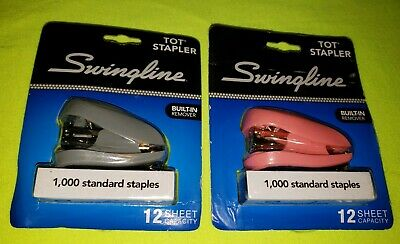 Swingline 79141 Tot Mini Stapler 12-sheet Capacity Pink Grey Free Shipping