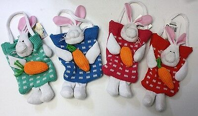 SPRING TIME HAPPY EASTER BUNNY KNIT GOODY BAG HAND SEWN CUTE DECORATION PASTEL (Happy Halloween Goodie Bags)