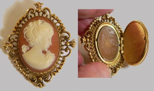 Vintage AVON Cameo Solid Perfume Locket Brooch/Pin