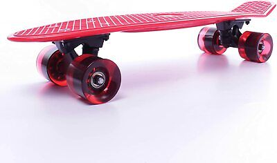 Cal 7 Complete Mini Cruiser Plastic Skateboard Red, Clear Red