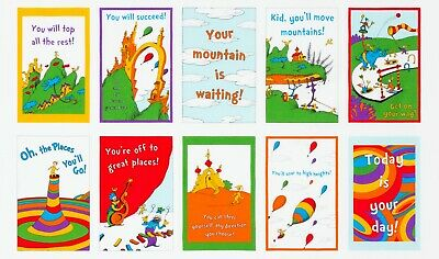 Dr. Seuss Fabric, Oh The Places You'll Go, 24 Inch Panel, Kaufman, TheFabricEdge - Dr Seuss Places You Ll Go