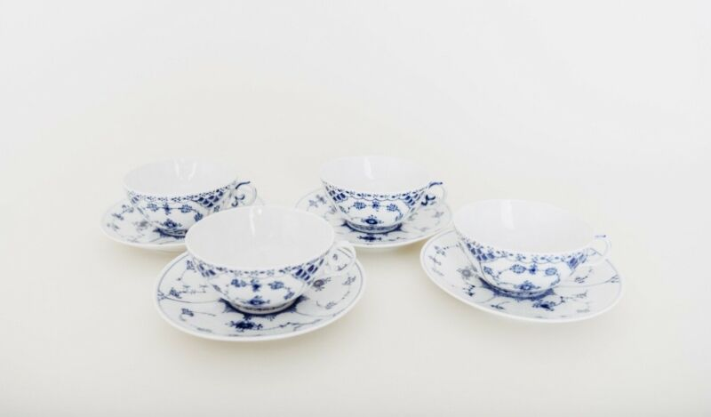 4 Royal Copenhagen Blue Fluted Full Lace Cup and Saucer Sets 1130 First Quality