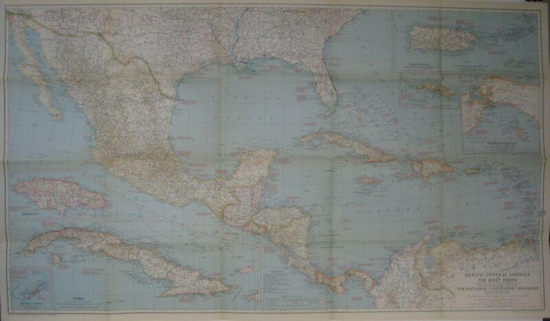 1939 Map MEXICO CENTRAL AMERICA WEST INDIES Cuba Panama Costa Rica Belize Haiti