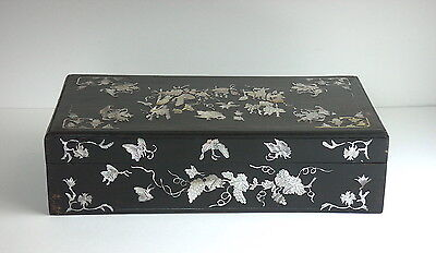Antique Chinese or Korean Inlaid Lacquer Box