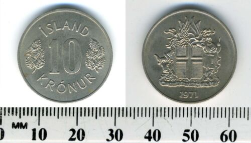 Iceland 1971 - 10 Kronur Copper-Nickel Coin - Arms with supporters