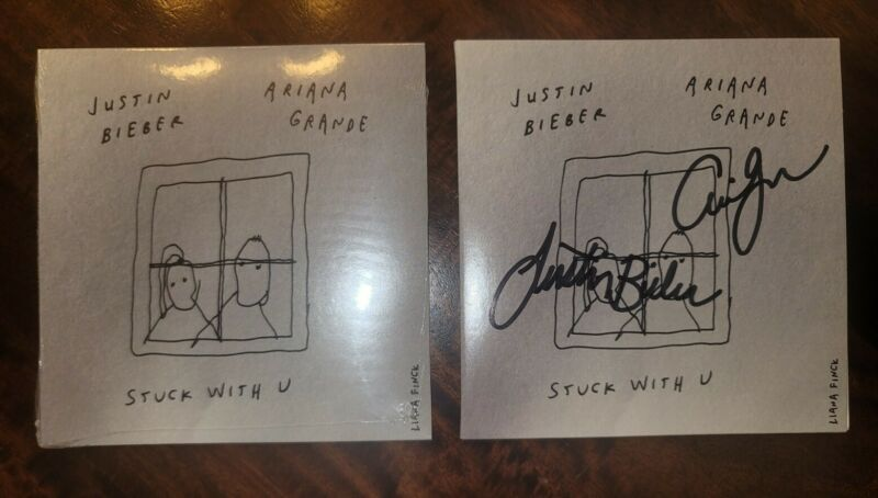 Justin Bieber Ariana Grande Signed Stuck With u CD Single IN HAND READY TO SHIP