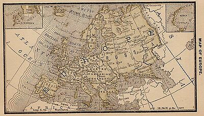 1887 Antique EUROPE Map MINIATURE Vintage Map Italy Hungary Germany