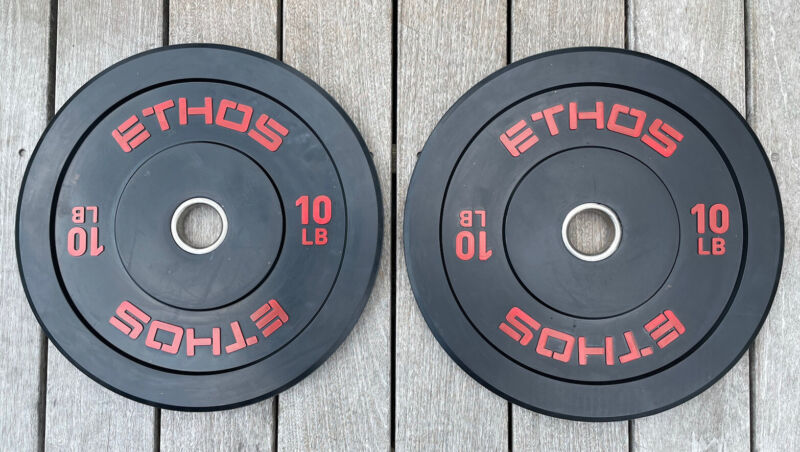 Pair Of 10lb Ethos Olympic Rubber Bumper Plates Weights