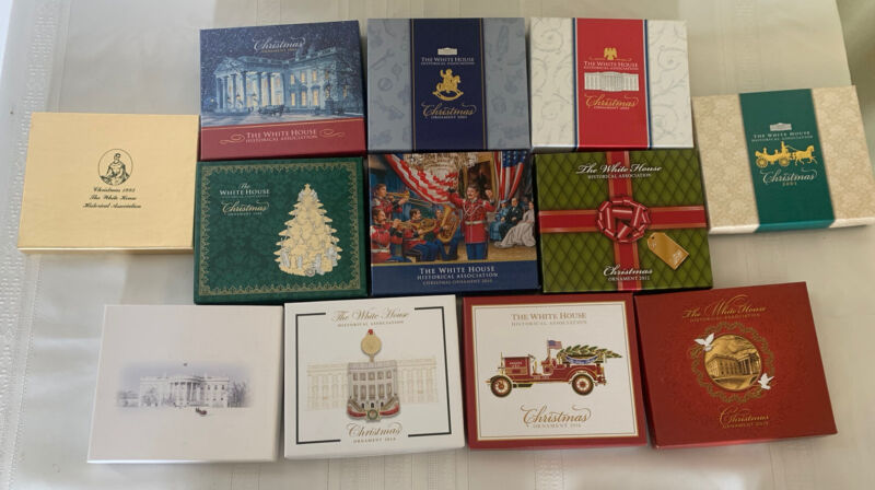 Lot of 12 The White House Christmas Tree Ornaments in Boxes 1993-2018