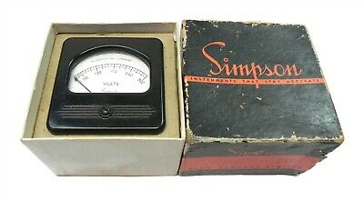 Vintage Simpson Ac Voltmeter 300 Volts New 3x 3 Wmounting Hardware Model 57