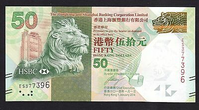 Hong Kong 50 Dollars  2014  Hsbc Bank P213   Unc