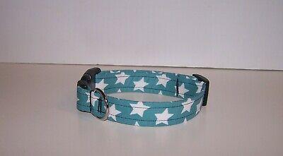 Wet Nose Designs Country Stars Dog Collar on Light Blue Summer Patriotic USA Blue Stars Dog Collars