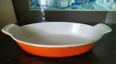 Le Creuset #20 Enamel Cast Iron Au Gratin Baking Dish  - Flame Orange 9.5 x 6 !