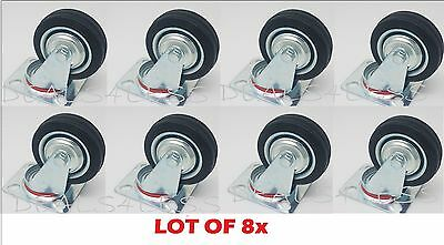 Lot Of 8 Swivel Caster 3 Wheels Rubber Base With Top Plate Bearing Heavy Duty