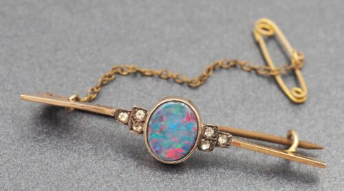 Opal Doublet Womens Brooch 9ct Yellow Gold & Silver Safety Chain Fine Jewelry
