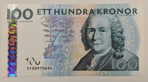 2003 Sweden 100 Kroner P-65b Nice Crisp Uncirculated Banknote Bee and Flower